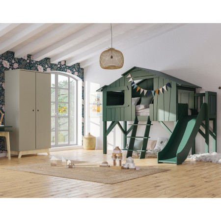 Mathy by Bols Loft Bed With Slide Tree- House Bunk - Bed Cottage - House Bed